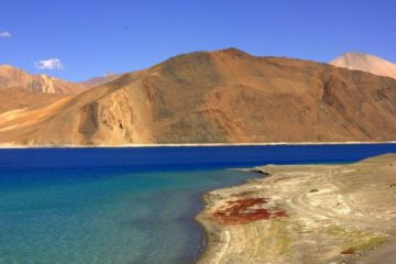 Pangong Tso has beautiful shades of blue