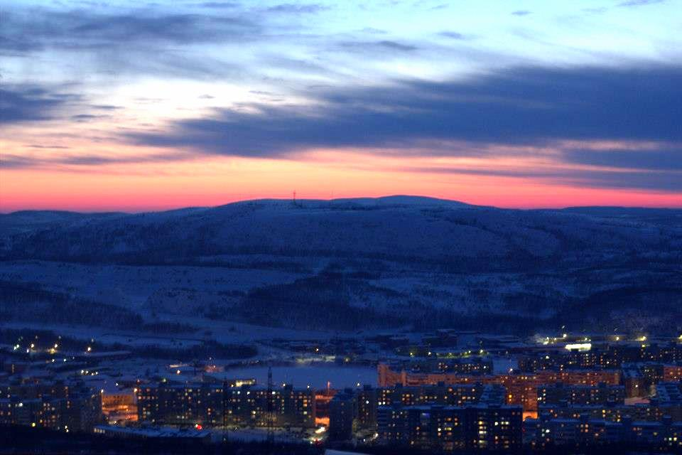 Frozen Murmansk city, the base for arctic adventure