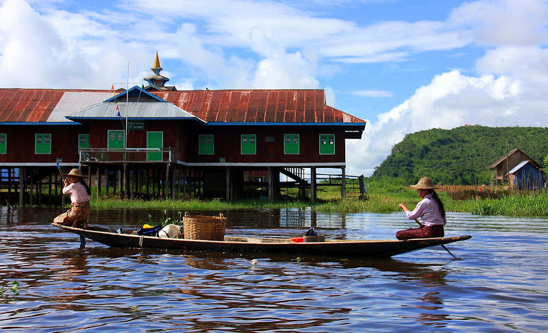 Lake Inle residents live in stilted villages