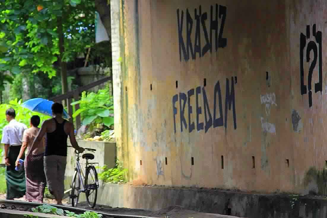 Yangon walls are graffiti splattered