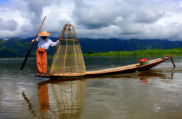 A feet rowing fisherman of lake inle