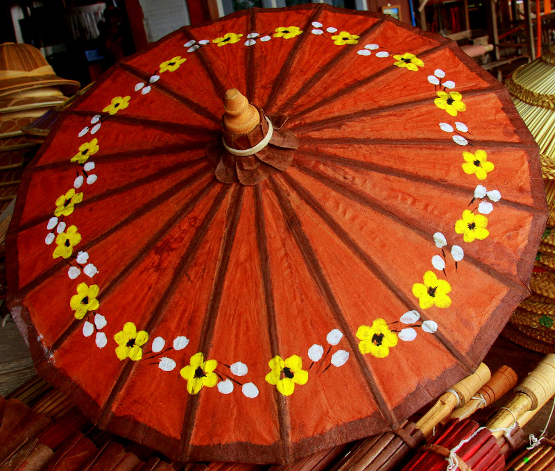 The lovely Pathein parasols for sale at Lake Inle