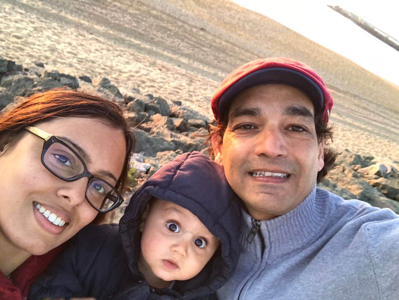 family travel selfie