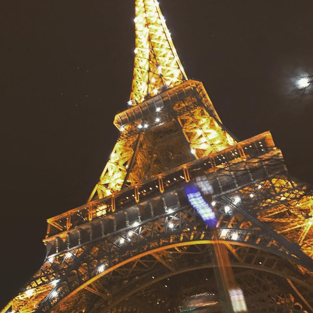 glittering eiffel tower in paris