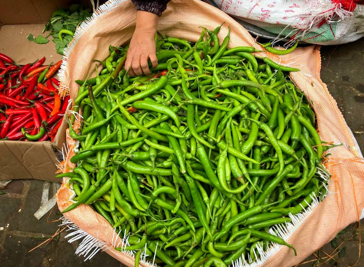 Chilies for sale in Cairo local market