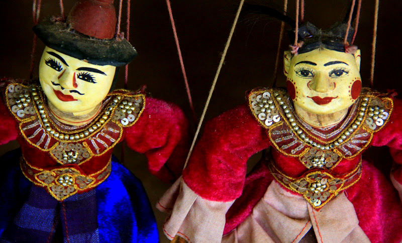 Puppets for sale at lake inle souvenir shop