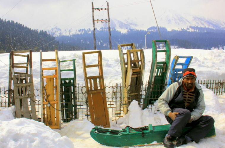 gulmarg winter means sledding and skiing