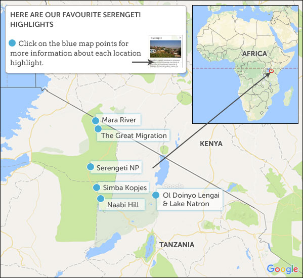 serengeti safari map