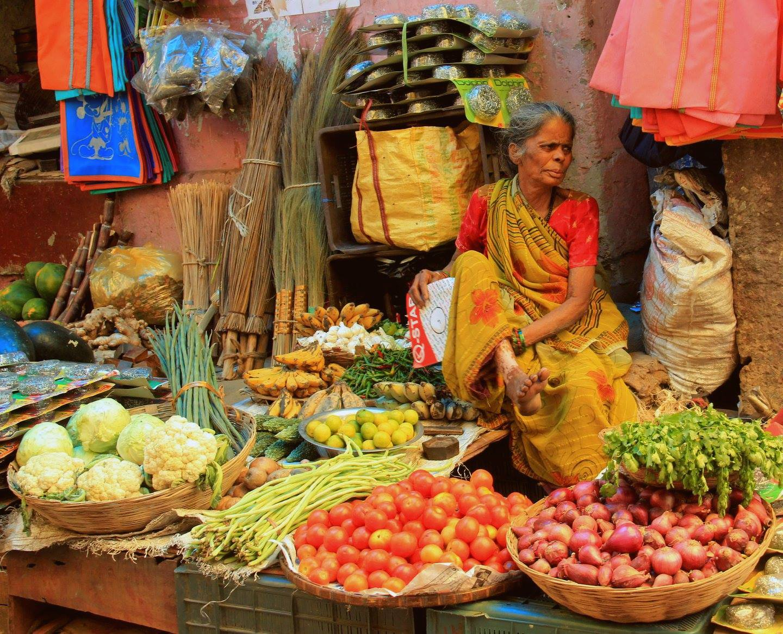 woman selling vegetables at darjeeling local market