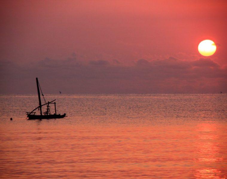 zanzibar sunset over indian ocean