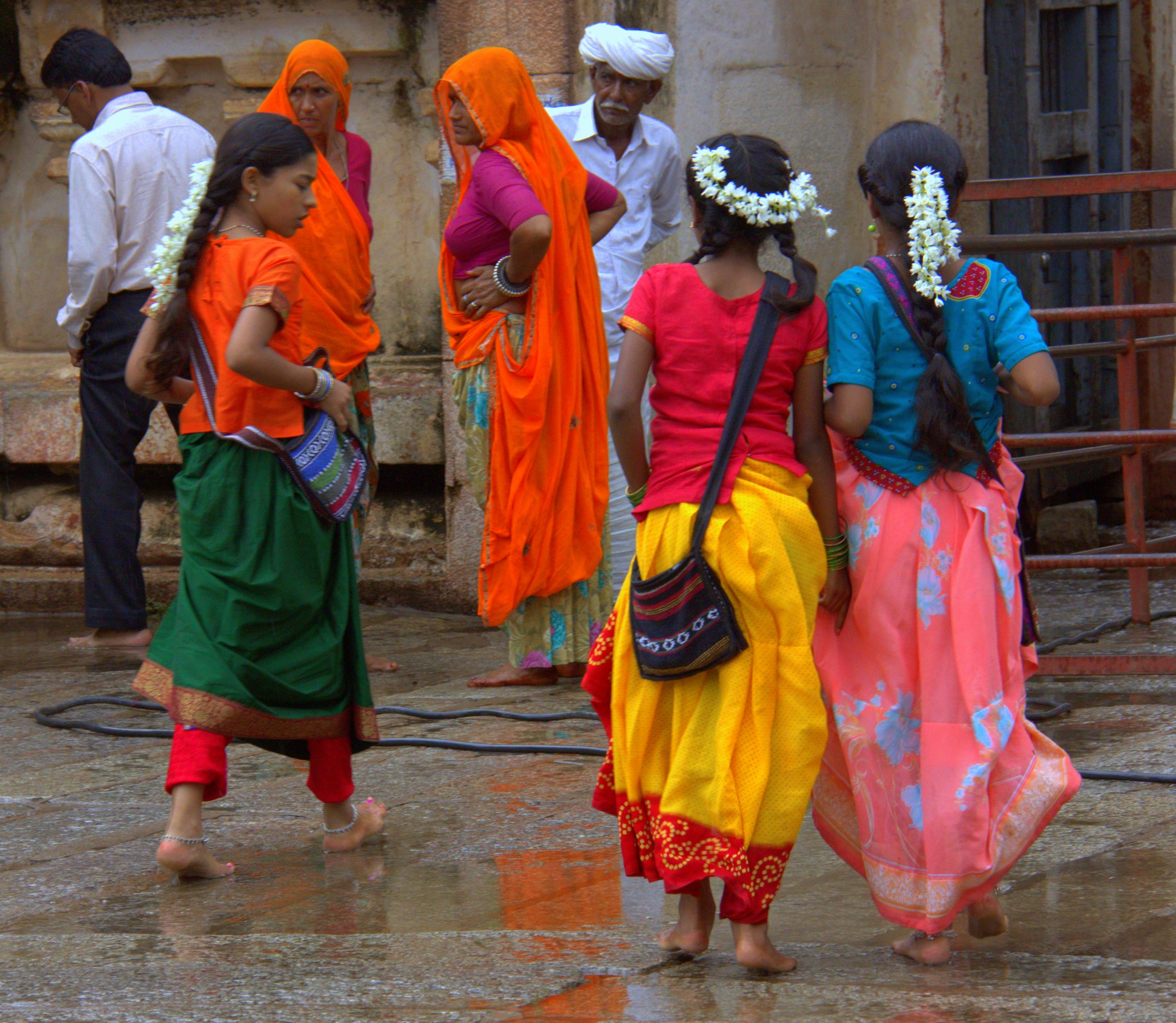 visitors at virupaksha temple in hampi