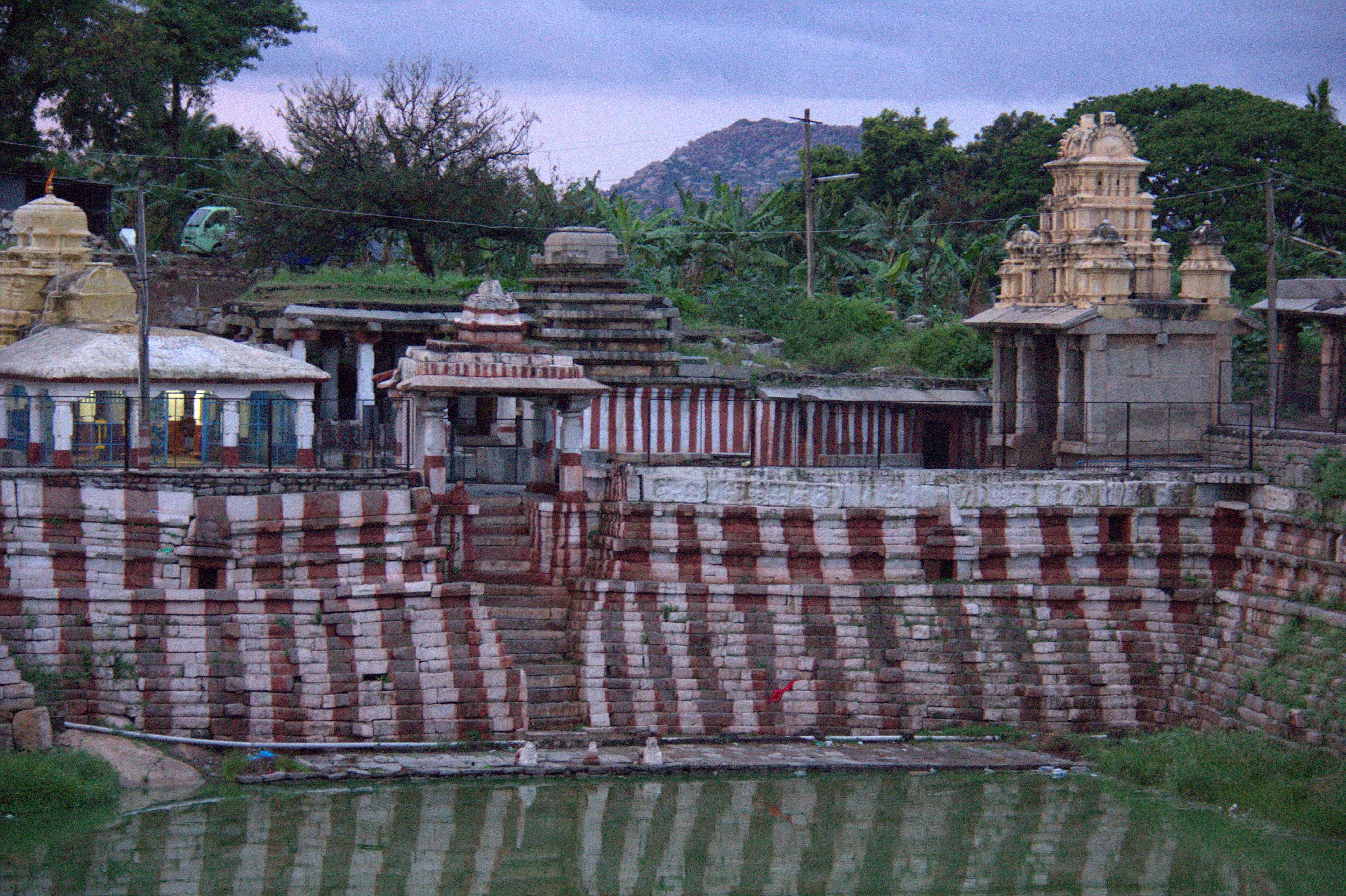 the bathing ghat near virupaksha temple in hampi