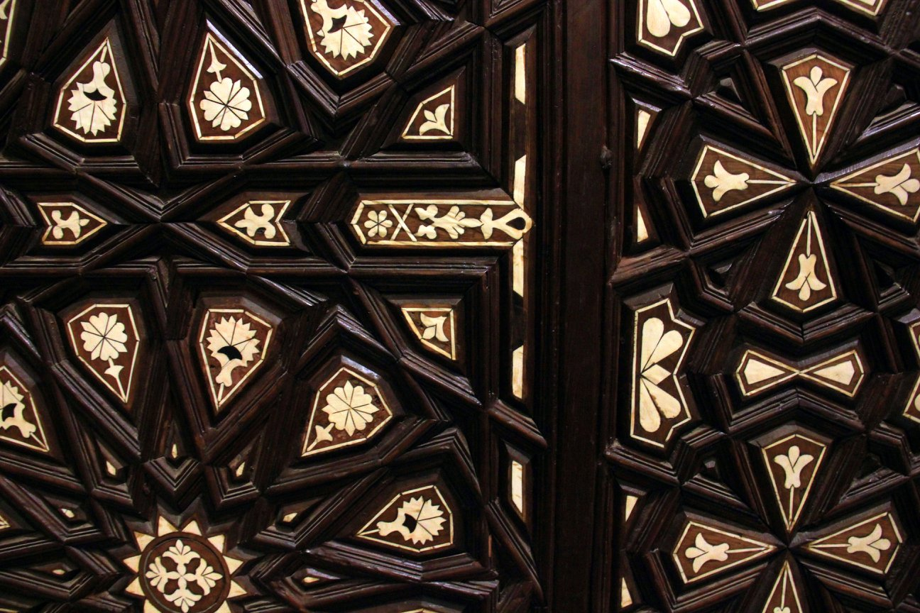 The carved and engraved ceiling of Coptic Cairo Museum