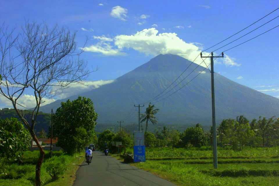 Mount Agung looms over Amed
