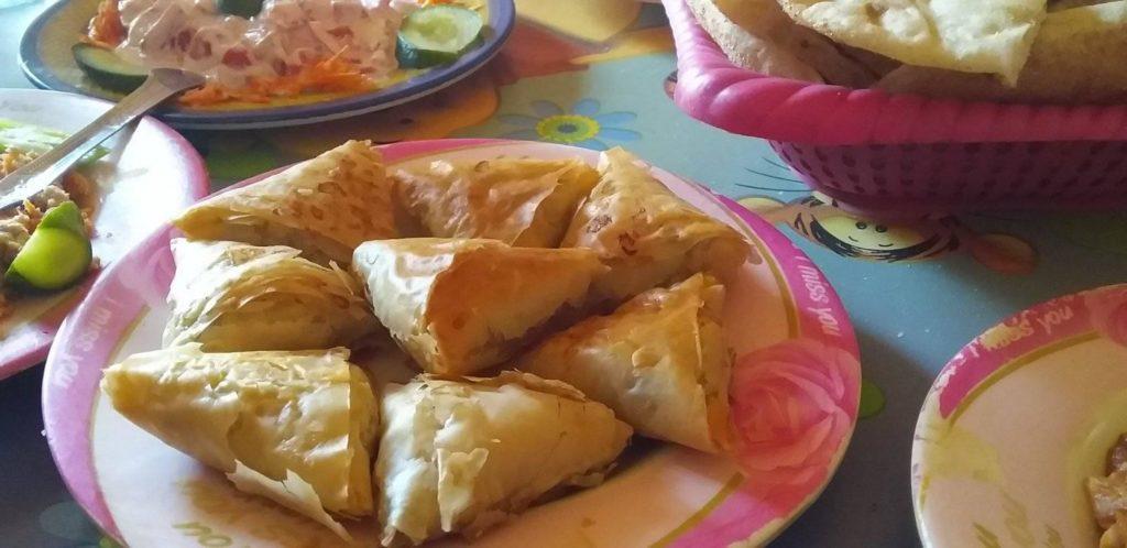 Sambusa snacks served during my White Desert trip
