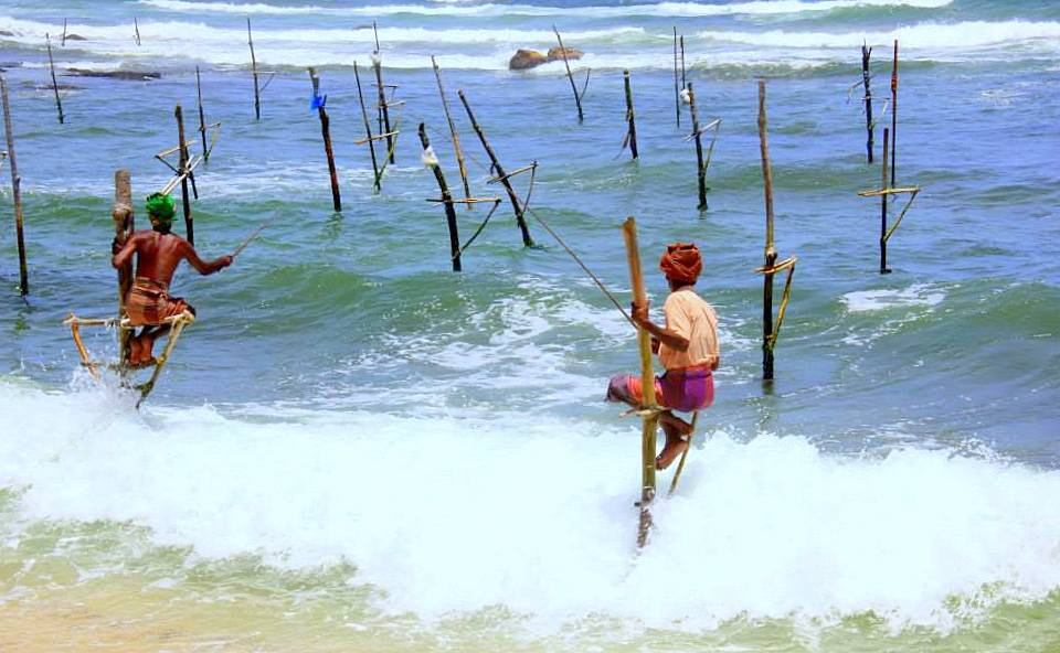 the practice of stilt fishing at Koggala