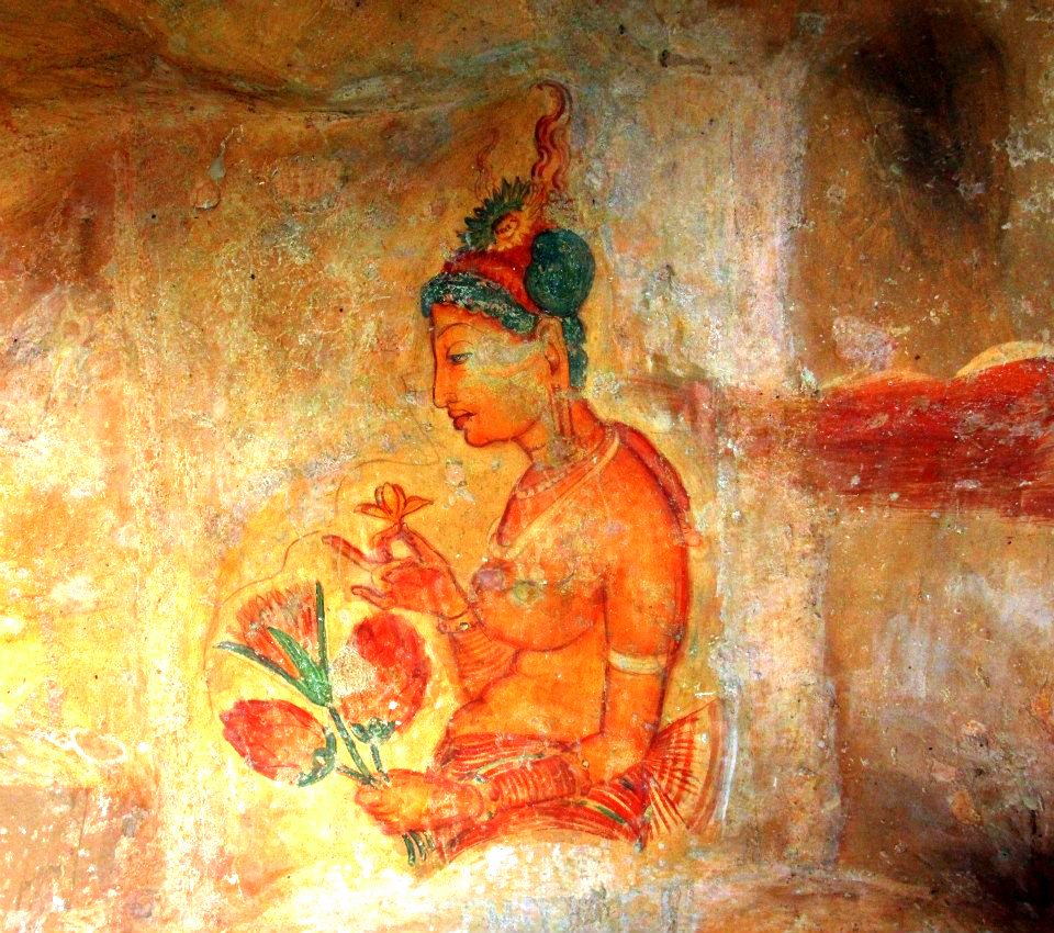 One of the surviving frescoes of the celestial beauty at the Lion Rock