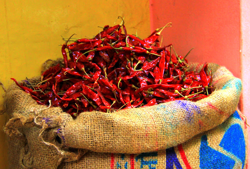 red chilies for sale at varanasi markets