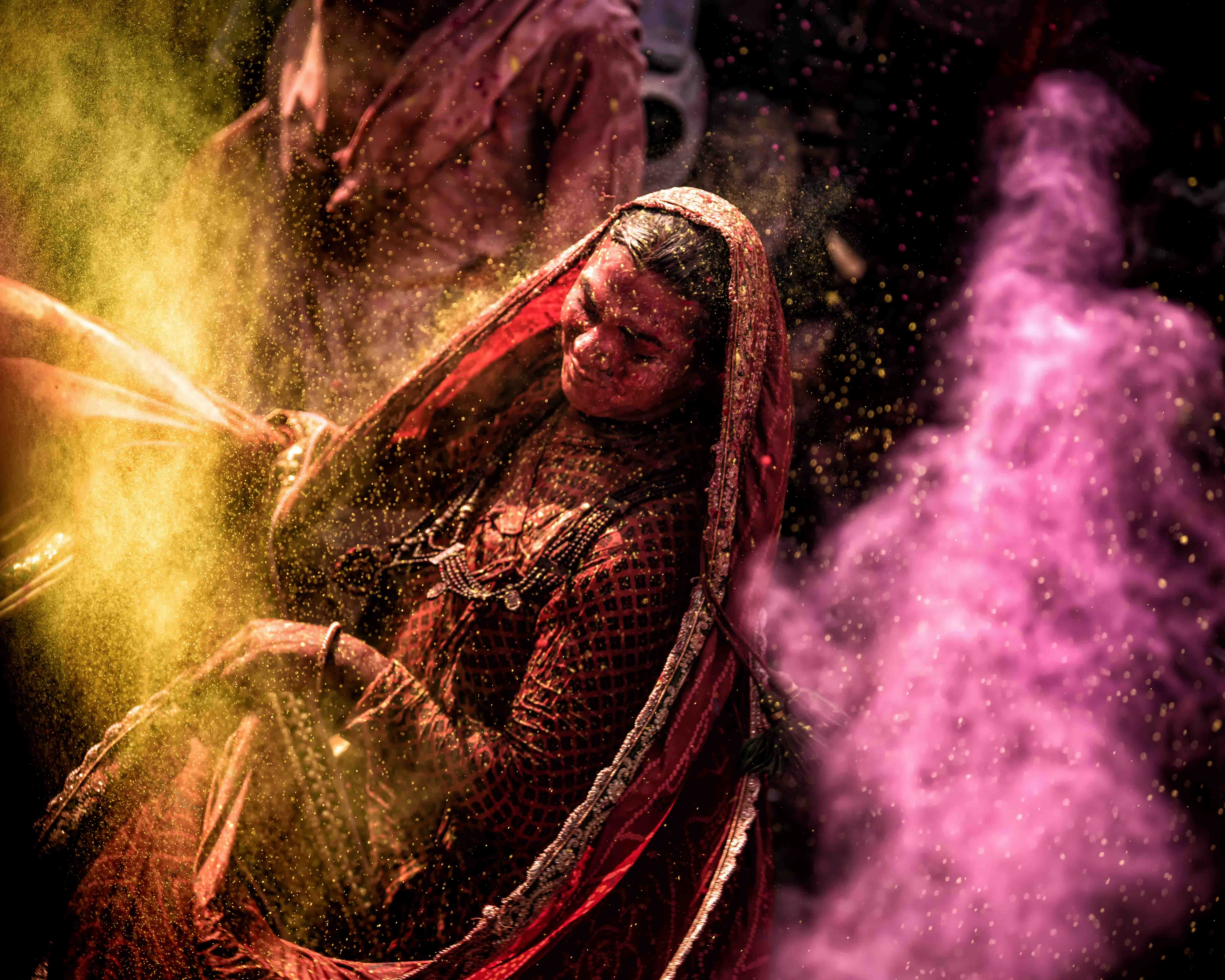 a dancing gopi at holi, one of the festivals of india