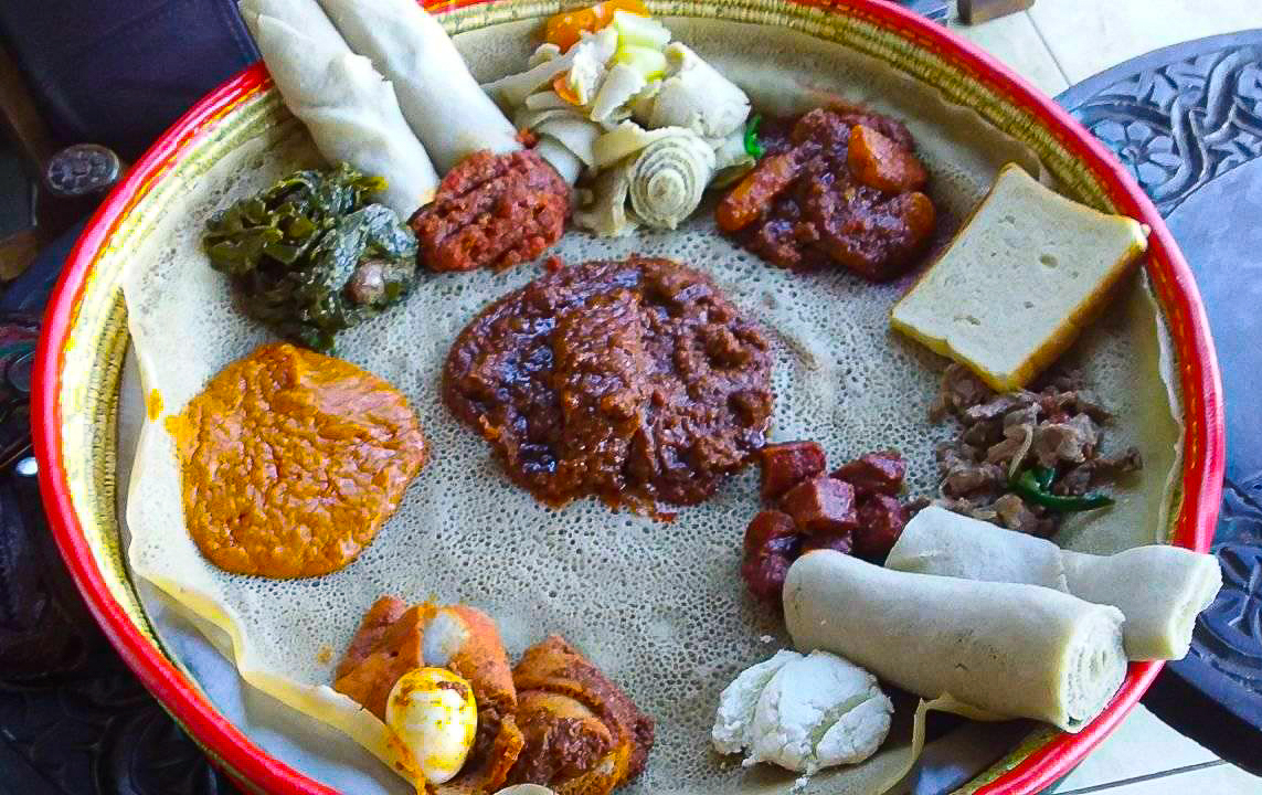 an ethiopian food platter