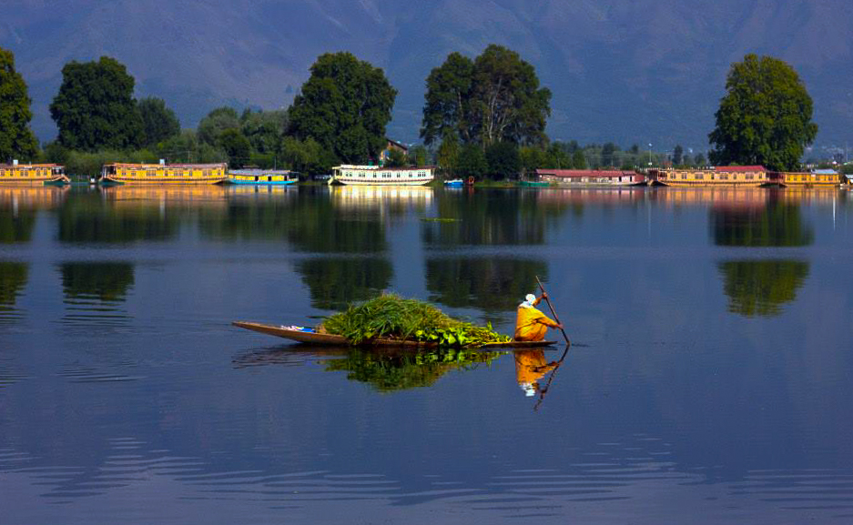 a shikara on the Dal Lake in Kashmir